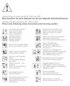 Sicherheitshinweise für die Sicherheit der Kerzen